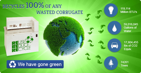 Recycles 100% of any wasted corrugate!