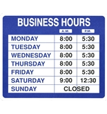 Garvey Sign 098023 Business Hours Kit