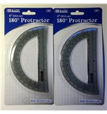 2 in Lot Bazic 6- 180 Degree Protractor with Beveled Edges New in Package