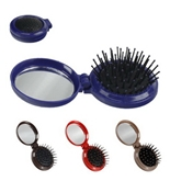 2pc Compact Travel Pop-Up Folding Hair Brush with Real Glass Mirror - Massage Ball Tips