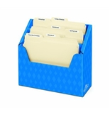 "3 Compartment Folder Holder, 12""H x 13 3/4""W x 5 5/8""D, Blue"