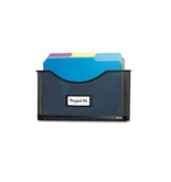 3 Pack Partition Additions File Pocket, Mesh, 1 1/2- Capacity, Black by FELLOWES (Catalog Category: Paper, Pens & Desk Supplies / Desk Accessories)