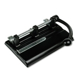 40-Sheet Lever Action Two- to Seven-Hole Punch, 13/32 Diameter Holes, Black
