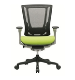 Nefil 4000FMGRN Office Chair in Black Mesh Back and Green Fabric Seat with Grey Frame