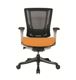 Nefil 4000FMORG Office Chair in Black Mesh Back and Orange Fabric Seat with Grey Frame