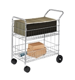 Fellowes 40912 Chrome-plated Steel Wire Mail Cart with Upper and Lower Baskets