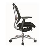 Nefil 4200FMBLK Office Chair in Black Mesh Back and Black Fabric Seat and Aluminum Frame