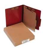ACCO 15004 ACCO Presstex 20-Point Classification Folders, Letter, 4-Section, Red, 10/Box