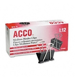 ACCO Metal Binder Clips, Medium Size, 1.25 Inch Width, 0.63 Inch Capacity, Black/Silver, 12 Clips per Box (A7072050)