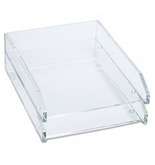 Kantek AD-15 Acrylic Double Letter Tray - Clear