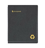 AT-A-GLANCE Recycled Weekly/Monthly Appointment Book Black 8 1/4 x 10 7/8