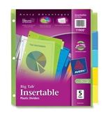 Avery Big Tab Insertable Plastic Dividers, 5-Tab Set, 1 Set (11900)