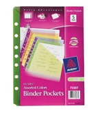 Avery Binder Pockets, Fits 3-Ring and 7-Ring Binders, Assorted, Pack of 5 (75307)