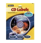 Fellowes 99943 Glossy White CD/DVD Labels, Ink Jet Printer Compatible, 20/pack