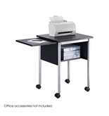 Safco Products Machine Stand with Slide-Away Shelf, Black/Metallic Gray, 1873BL