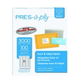 Pres-A-Ply Laser Address Labels, 1 x 2-5/8, White, 3000/Box