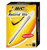 BIC Round Stic Ballpoint Pen, Translucent Barrel, Black Ink, Med Pt, 1.0 mm, 60/pk, Sold as 2 Packs