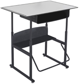 "Safco Stool for AlphaBetter Stand-Up Desk, 36"" x 24"" Premium Top, with Book Box, Gray Top, Black Frame, 1209GR"
