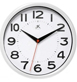 Infinity Instruments Metro White 9-Inch Resin Wall Clock