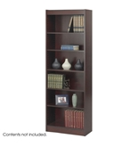 24 in. Slim Bookcase w 6 Shelves in Mahogany Finish