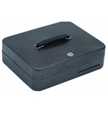 Hercules CB1209 Key Locking Cash Box with 9 Compartment Tray, 11.8- x 9.5- x 3.7-, Recycled Steel, Silver Vein