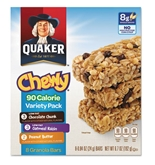 Quaker Granola Bars, Chewy Variety Pack, .84oz Bar, 8/Box, 12 Boxes/Carton