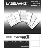 LabelWhiz Half Sheet Shipping Labels for Laser and Inkjet Printers, 8.5 x 5.5 Inches, 2 Labels per Sheet, 100 Sheets, White  - 37800S