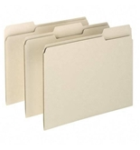 Essentials File Folders, Straight Cut, Top Tab, Legal, Manila, 100/Box