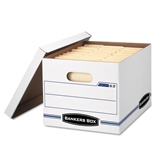Bankers Box EasyLift Storage Box Letter/Letter Lift-Off Lid White/Blue