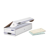 Bankers Box Stor/File Storage Box, Check, Flip-Top Lid, White/Blue, 12/Carton