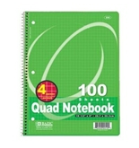 BAZIC Quad-Ruled Spiral Notebook 100 Count, Assorted colors (10 1/2 inches x 8 inches)