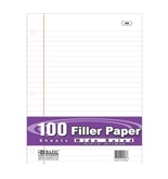 BAZIC W/R 100 Count Filler Paper,White
