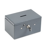 Buddy 5051 BDY5051 Recycled Steel Stamp and Coin Box with Lock, Gray
