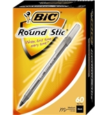 BIC Round Stic Ball Pen, Medium Point, 1.0 mm, Black, 60 Pens (GSM609-Blk)