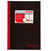 Black n- Red Hardcover Executive Notebook, 11.75 x 8.25 Inches, Black, 192 pages (D66174)
