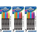 BAZIC Fancy Colors Fine Tip Permanent Markers with Pocket Clip (5/Pack)