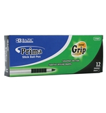 BAZIC Prima Black Stick Pen with Cushion Grip (12/Box)
