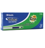 BAZIC Prima Blue Stick Pen with Cushion Grip (12/Box)