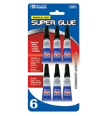 BAZIC 1g / 0.036 Oz Single Use Super Glue (6/Pack)