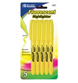 BAZIC Yellow Pen Style Fluorescent Highlighter with Pocket Clip (5/Pk)