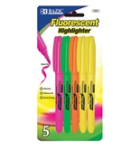 BAZIC Pen Style Fluorescent Highlighter with Pocket Clip (5/Pack)