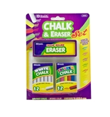 BAZIC 12 Color & 12 White Chalk with Eraser Set
