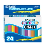 BAZIC Dustless Assorted Color Chalk (24/Box)