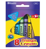 BAZIC 8 Color Premium Quality Super Jumbo Triangle Crayon