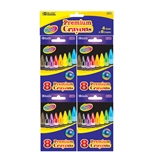 BAZIC 8 Color Premium Quality Crayon (4/Pack)