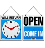 BAZIC 7.5x9 WILL RETURN Clock Sign with OPEN sign on back