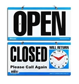 BAZIC 6 X 11.5 CLOSED Clock Sign with OPEN sign on back