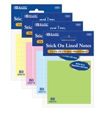 BAZIC 80 Ct. 3 X 3 Lined Stick On Notes