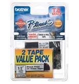 "Brother 1/2"" Laminated Black on Clear Tape (2 Pack of TZ131) (26.2 Ft.) For use in TZ P-Touch: All TZ"