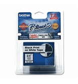 Brother Laminated Tape Black on White, 18mm (TZe241) - Retail Packaging